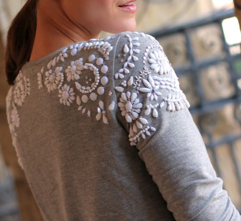 Bejeweled shoulders. It's crazy how customizing small details on a piece of clothing can change it so much! Love this.