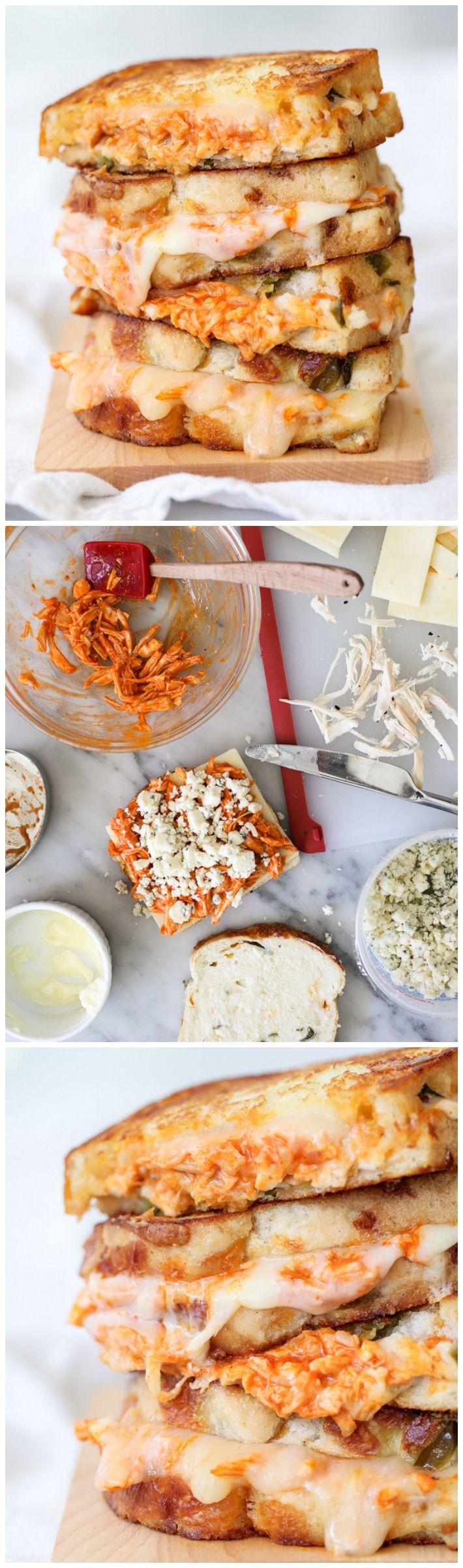 Buffalo Chicken Grilled Cheese Sandwich | foodiecrush.com #recipe