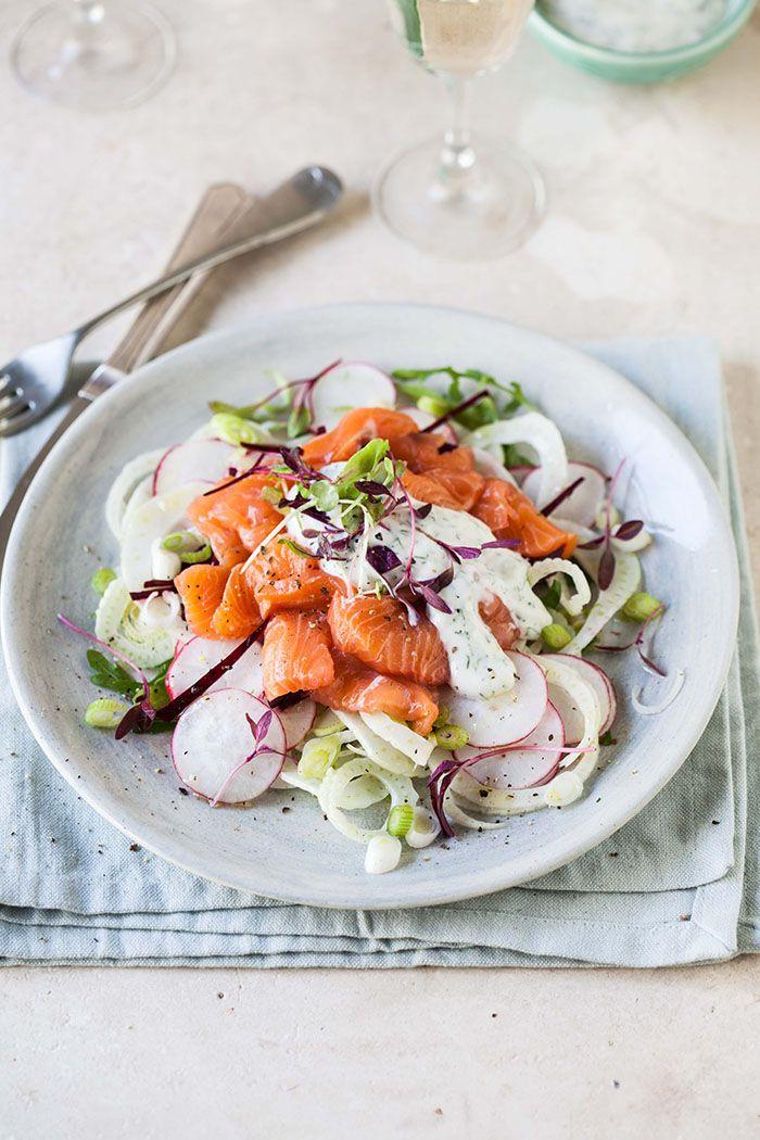 raw salmon salad with fennel, radish and beetroot & the beautiful tintswalo atlantic