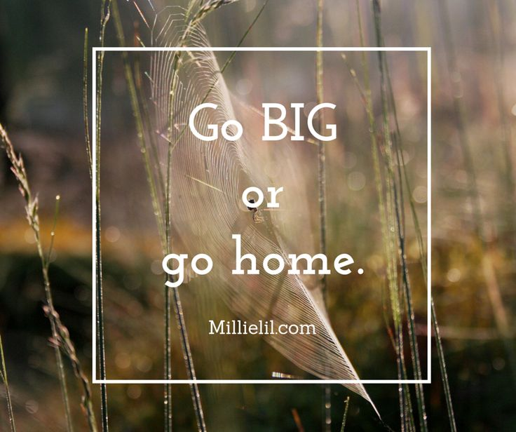 Go BIG or go home. Dedicate to what you want and follow through.