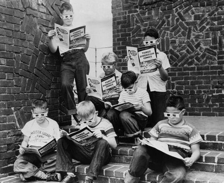 Kids reading Mighty Mouse the first 3D comic book 1953 .