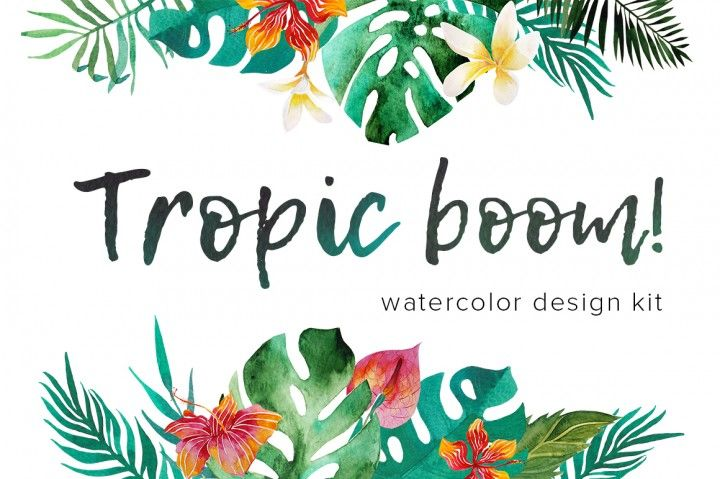 Tropic boom! watercolor design kit By Beauty Drops