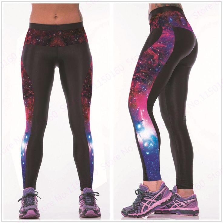 Новая мечта Звезда женщин спортивные брюки йоги 3D печать небо, звезды, космическое пространство синий зеленый розовый Женский фитнес-Леггинсы многоцветный