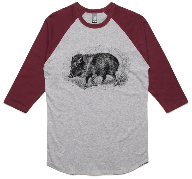 theIndie Wild Boar Illustration (Black) 3/4-Sleeve Raglan Baseball T-Shirt
