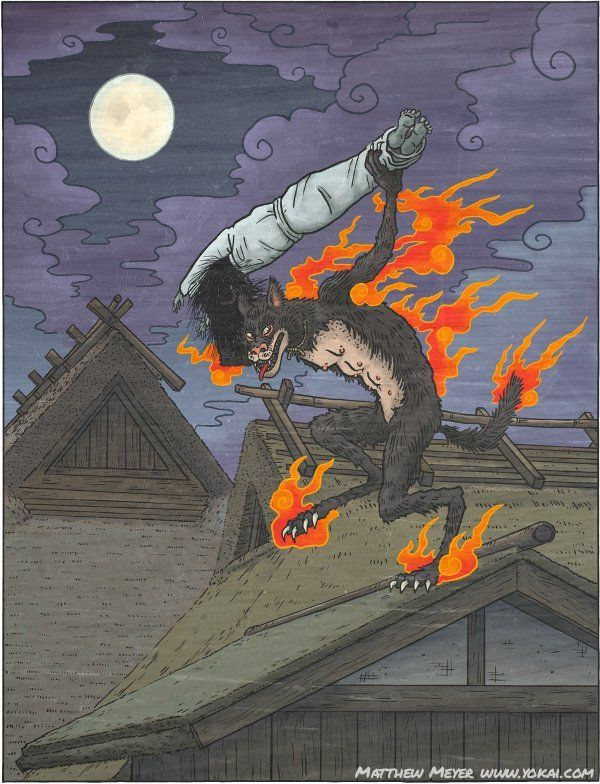 More info on the Kasha, a Japanese yokai that appears as a flaming cat and is a servant of hell.
