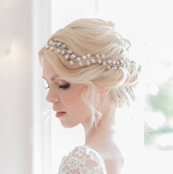 Rustic bridal headpiece, Bridal hair vine, Boho bridal hair vine, Gold bridal headpiece, Rustic wedding headpiece, Gold hair vine, Auralia  The Auralia wedding headpiece hair vine is a stunning hair accessory which combines intricate shimmering freshwater pearl with delicate seed