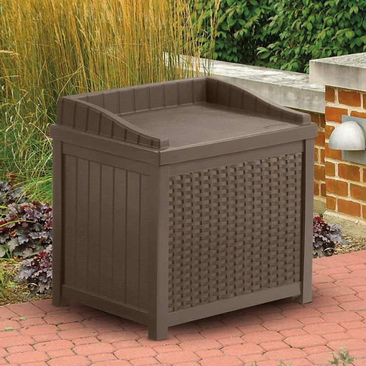 Captivating Suncast Resin 22 Gallon Outdoor Storage Bench Seat   Mocha