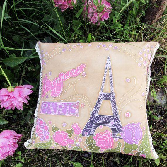 Hand Painted Batik Pillow Cotton Fabric Lace by BataviaDesign