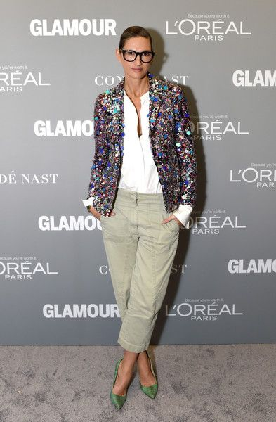 President and Creative Director, J. Crew, Jenna Lyons poses backstage during Glamour Women Of The Year 2016 LIVE Summit at NeueHouse Hollywood on November 14, 2016 in Los Angeles, California.