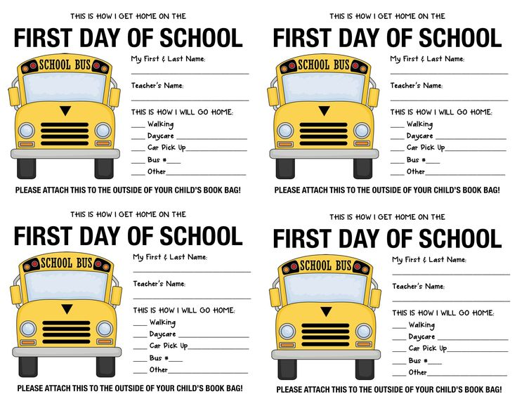 First Day of School Getting Home Sticker...make own, have parents fill out and attach on first day!