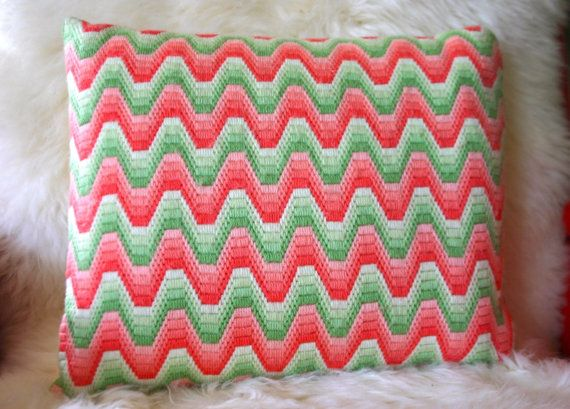 Pink And Green Vintage Bargello Needlepoint by OfAllTheFishVintage,