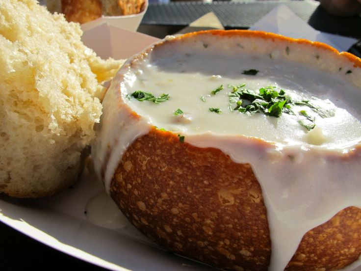 San Francisco. Clam chowder in a sourdough bread bowl. Had this all hot and fragrant on a cold day in San Fran. :)