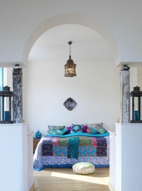 Inspiring 66 Mysterious Moroccan Bedroom Designs : 66 Mysterious Moroccan Bedroom Designs With White Blue Bedroom Wall Bed Pillow Blanket Nightstand Chandelier Cushion And Hardwood Floor And Window