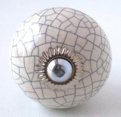 Bouton de meuble vintage, Vintage Ceramic Crackled Knob,