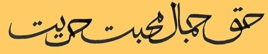 Truth Beauty Love Freedom -- Arabic inscription for a tattoo design.