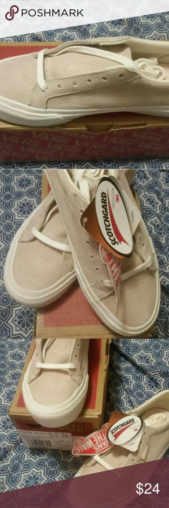 Vans **Brand New** in box, suede silverish, pink unisex Vans skate shoe. Have not been worn except tried on. Original price was $64.95, dropped down to $24.49. They're too small for my daughter and they are sold out, plus, we'd rather Posh! Price is FIRM at $24. Vans Shoes Sneakers