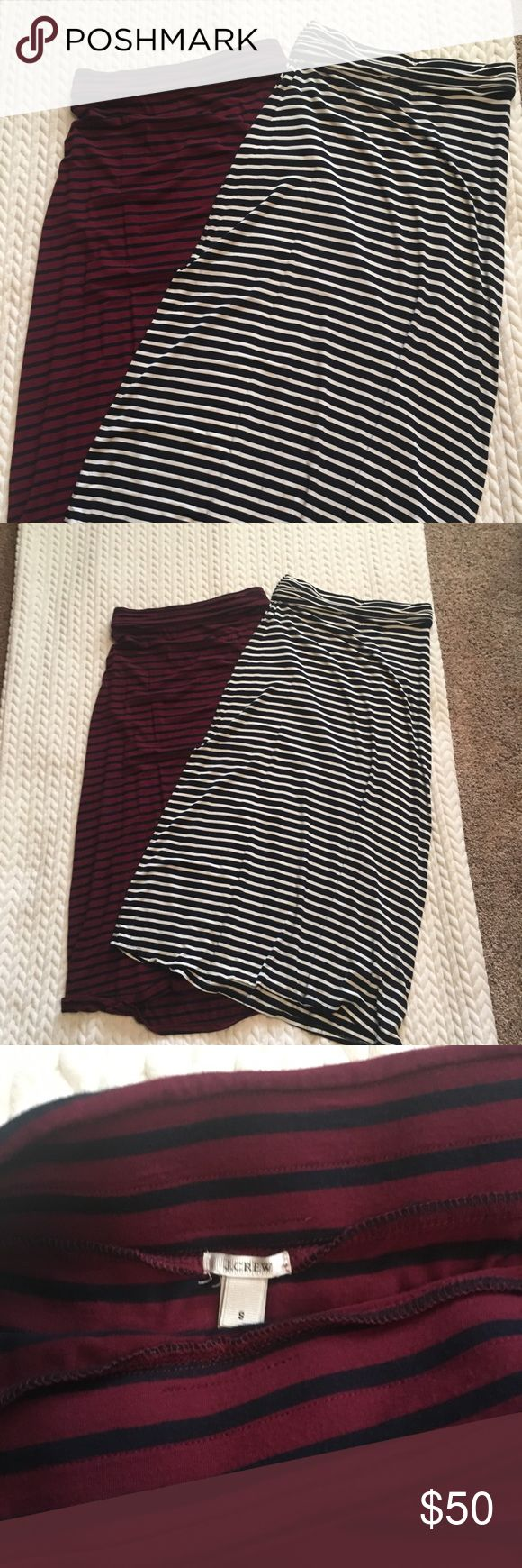 J Crew Full Length Maxi Skirts Gorgeous Striped Skirts for sale!!! Super comfortable soft fabric with elastic waistband. Navy/White & Auburn/Navy J Crew Skirts Maxi