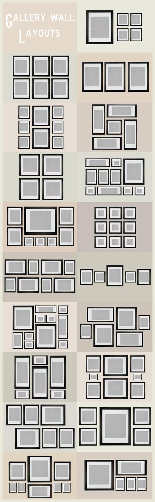 nice Gallery Wall Layout Ideas | These Diagrams Are Everything You Need To Decorate Y...