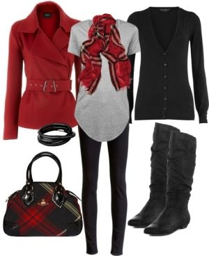 Cute black and red outfit by natalie.rose