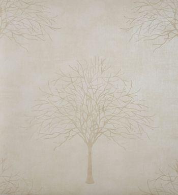 Papel pintado árboles color tostado fondo beige nacarado - 2019950
