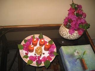 Diwali Decoration with Bougainvillea.