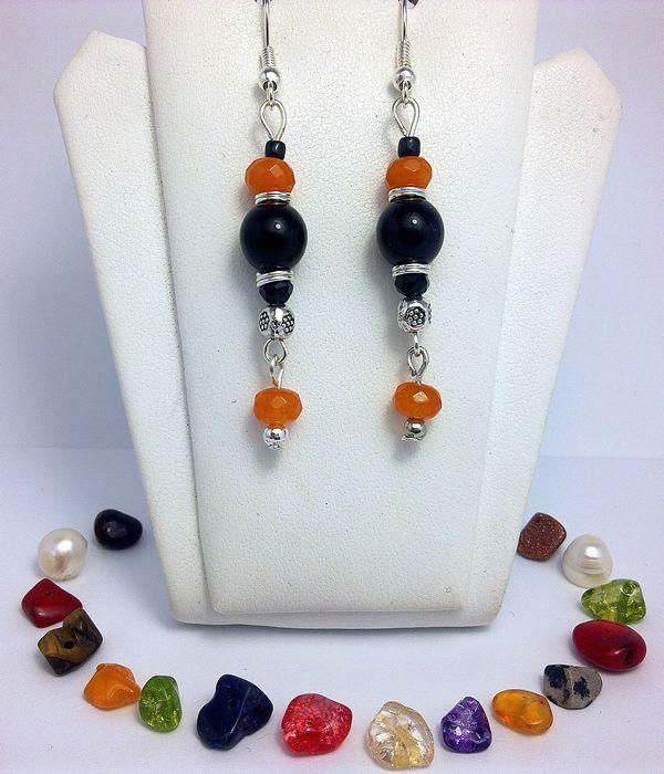 Cercei din pietre semipretioase - Onix, Jad portocaliu