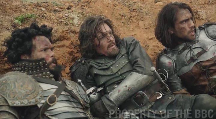 The Musketeers - Series III BtS filming via Jessica Pope's FB (Porthos, Athos & D'Artagnan)