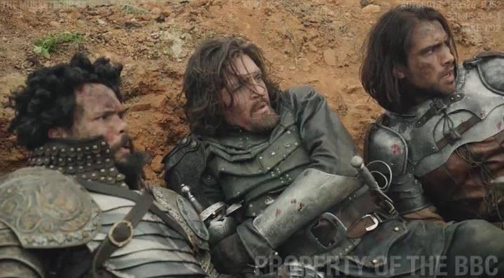 The Musketeers - Series III BtS filming via Jessica Pope's FB (Porthos, Athos & D'Artagnan)