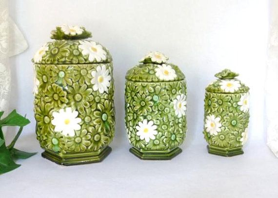 Vintage Canister Set 1960s Kitchen Decor Fred Roberts Japan Daisy Canister Set Retro Kitchen Containers 1960s Canister Sets And Kitchen