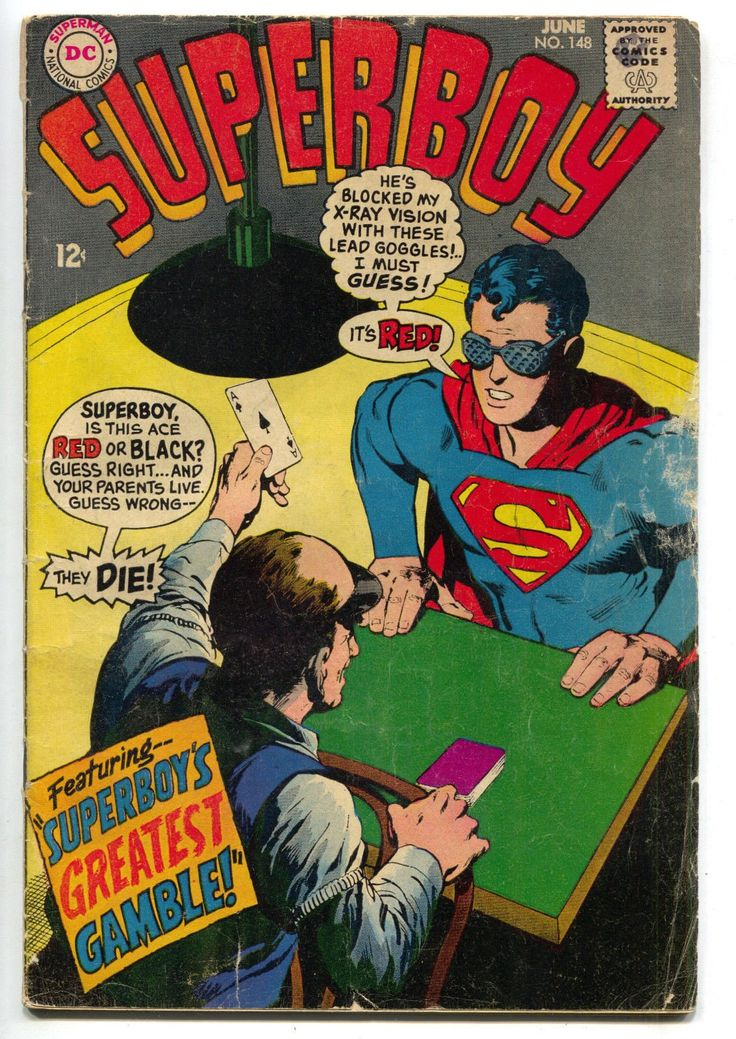 Superboy 148 DC 1968 VG Neal Adams Ace Of Spades Card Game Superman