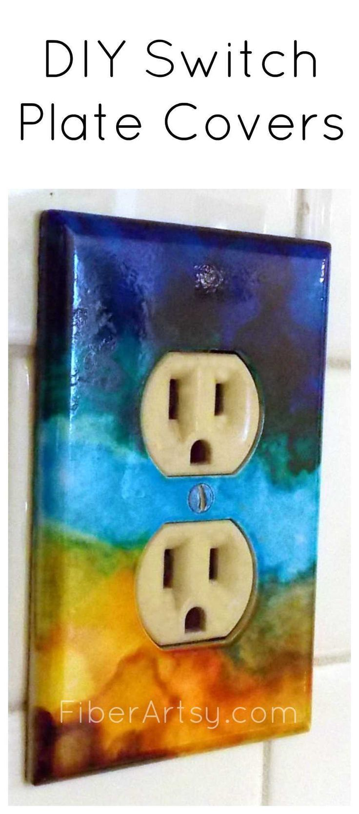 Arts and crafts switch plate covers - Diy Switch Plates With Alcohol Ink