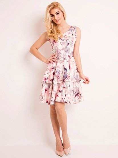 Rochie cloș de damă cu motive florale și volane LOU-LOU  - print floral