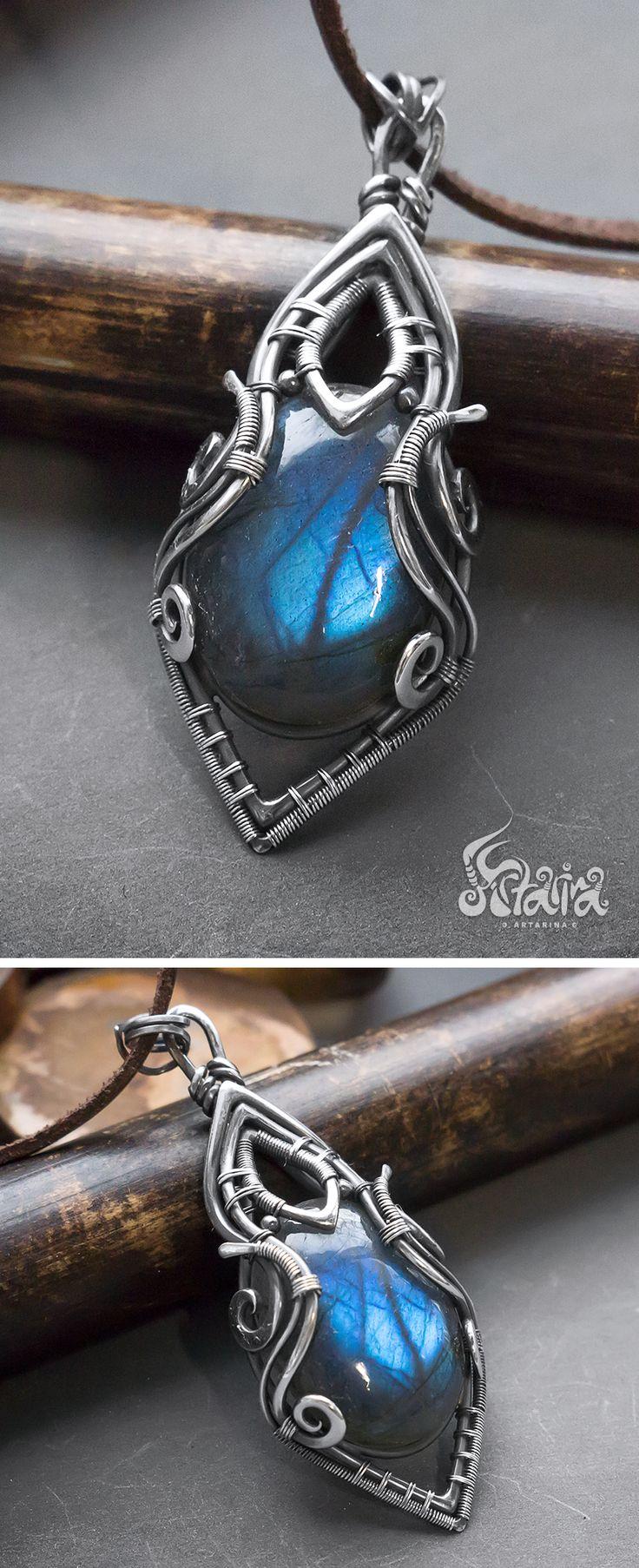 Blue labradorite silver necklace