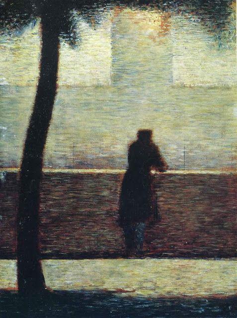 """""""L'invalido"""",George Seurat,1882. Le  figure dell'uomo e dell'albero occupano il centro e le estremità della composizione.due fasci di luce la intersecano,separati dal muretto,unico elemento solido alla vista. La composizione è essenziale e priva di intenti simbolici,in quanto semplicemente descrittiva e minuziosa. La tecnica compositiva a puntini appare leggermente sfocata nelle sone più chiare,altrimenti nitida nello sviluppo dei corpi stilizzati.La luce è altresì intensa e realistica."""