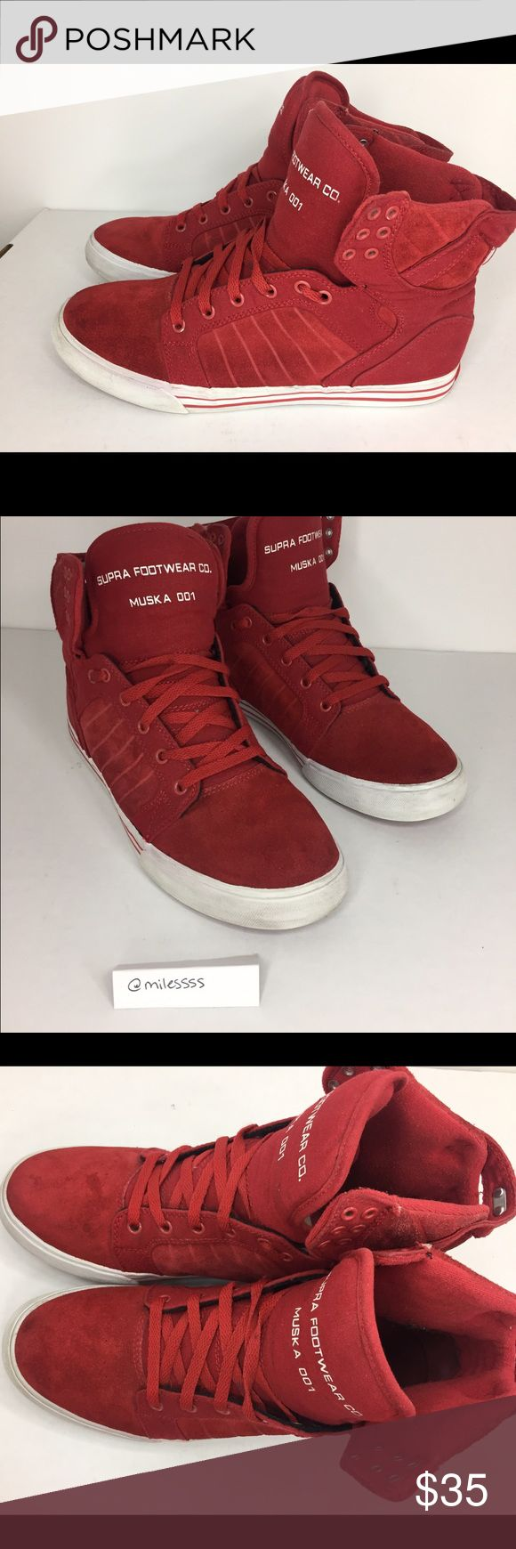Suede Red Supra High Top Sneakers SZ 11 Red Suede Skytops - Used gently but in good shape. Light wear Supra Shoes Sneakers