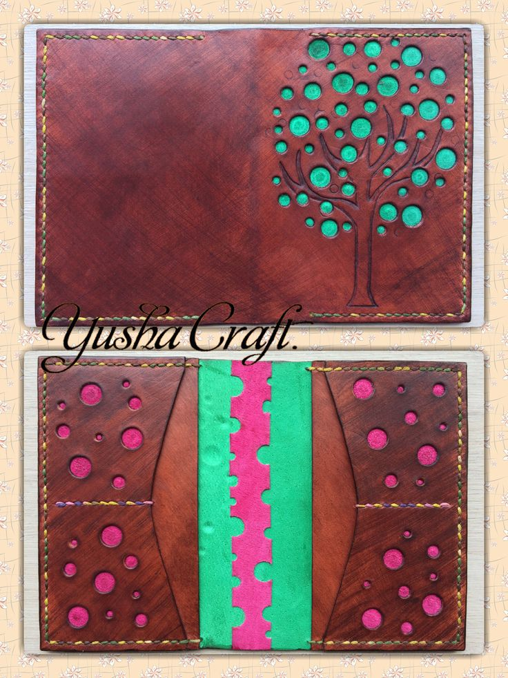 Обложка для паспорта Passport cover Leather, handmade Yusha Craft.