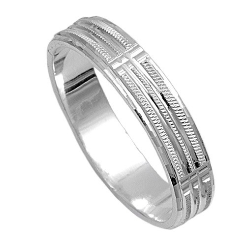 Great mm Plain Three Grooves Diamond Cut Wedding Band Ring CZWeddingBands