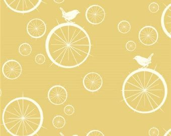 Birdie Spokes in Sun by Birch Fabrics - 1/2 Yard - Mod Basics - Birch Organic - Organic Cotton - Yellow Birds Light Yellow Fabric Cream