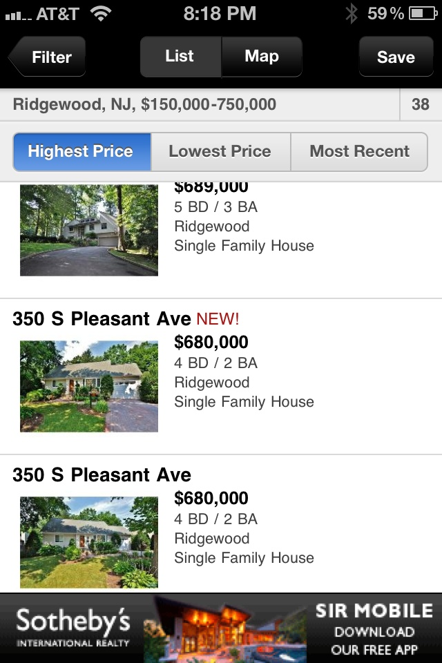 iPhone banner ad featured in NYTimes real estate app.