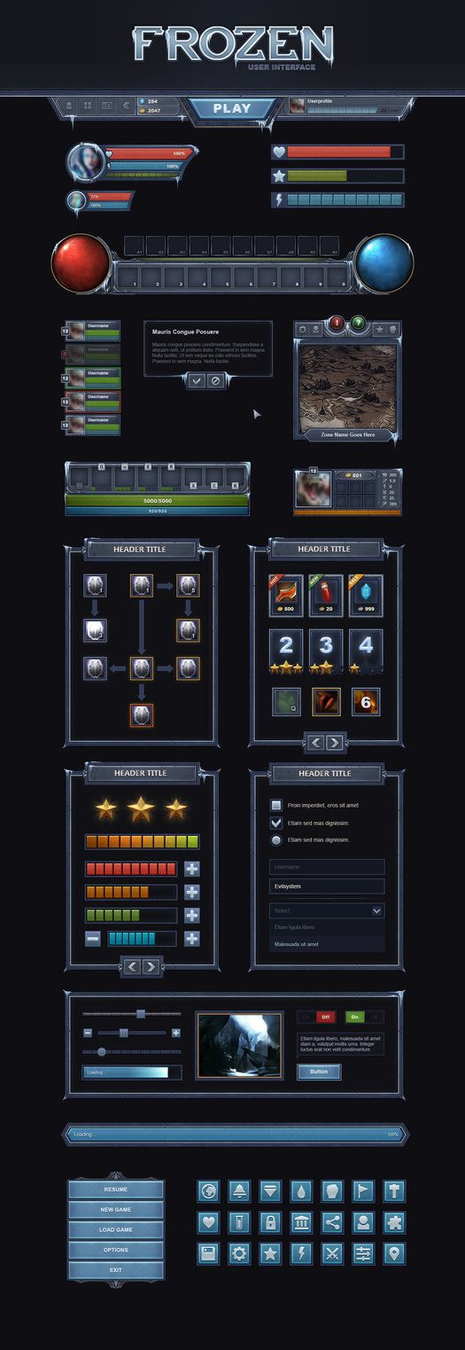 FrozenUI is a top quality User Interface made to meet almost every game project needs, the interface contains elements for MMORPG, MOBA, Strategy and Mobile Games.