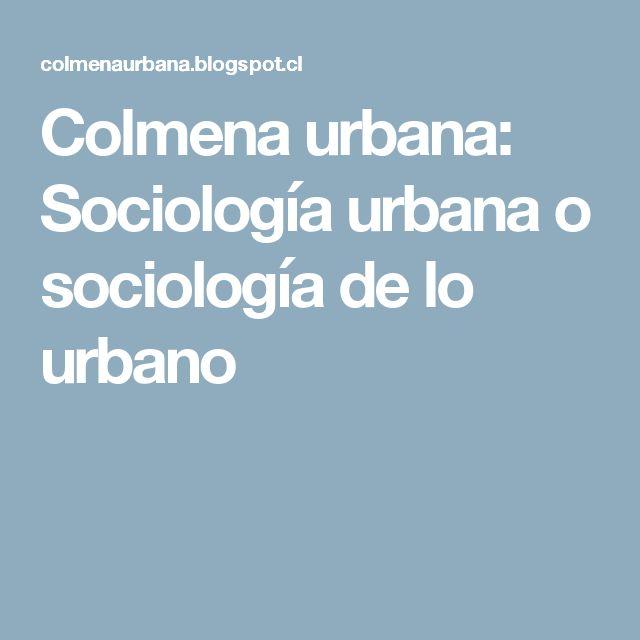 Colmena urbana: Sociología urbana o sociología de lo urbano