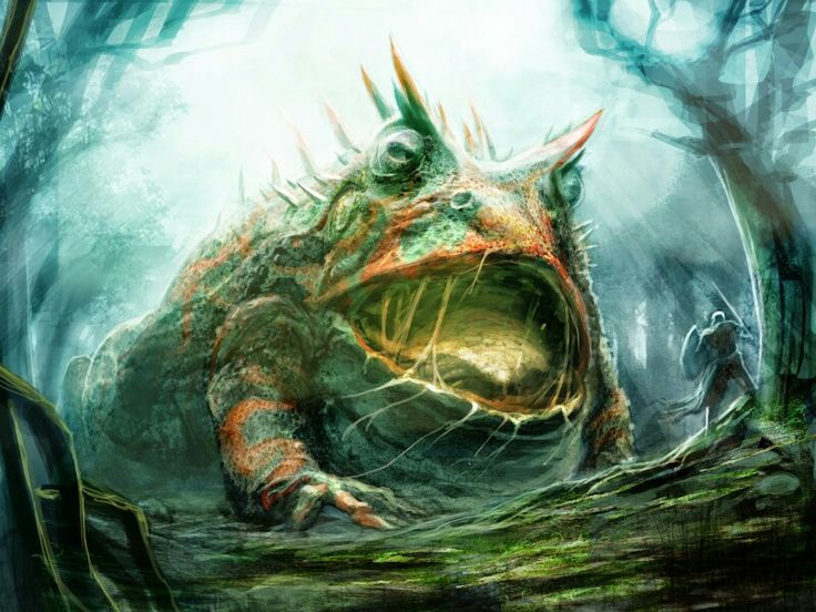 Aglebemu- Native American myth: a giant frog monster that damed up a river, drying it up, causing a drought. It was defeated and turned into a bullfrog by a hero named Glooskap.