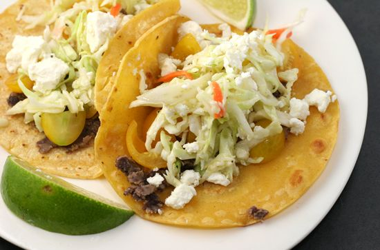 Black bean tacos with feta and cabbage slaw.
