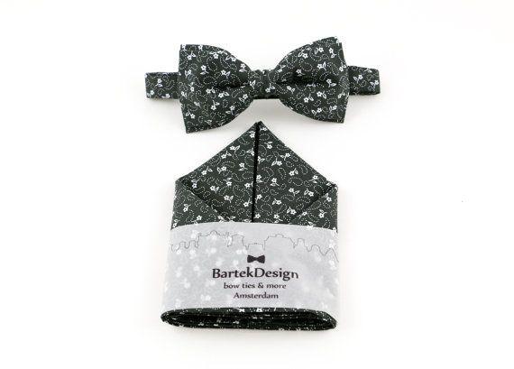 Grey Bow Tie & Pocket Handkerchief set anthracite by BartekDesign