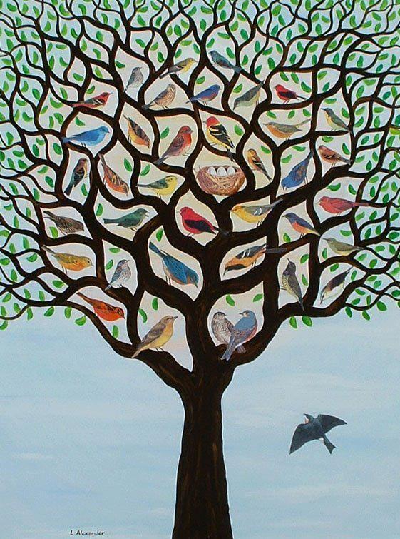 Mosterdzaad: boom vol vogels