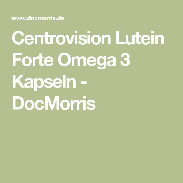 Centrovision Lutein Forte Omega 3 Kapseln - DocMorris