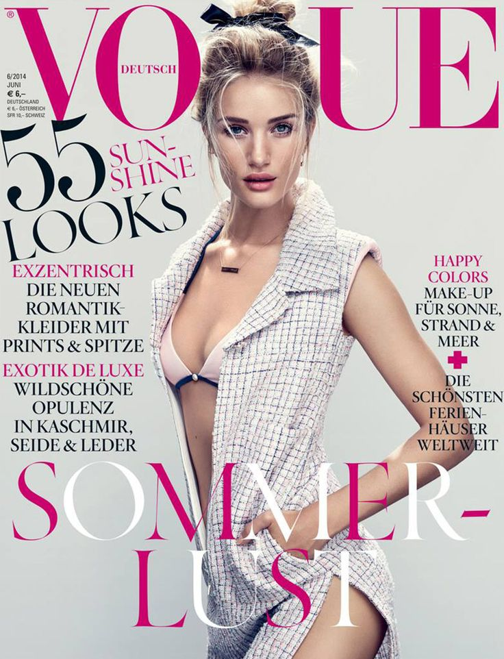 Rosie Huntington Whiteley is Sultry in Chanel for Vogue Germany June 2014 Cover