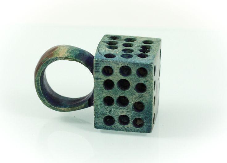 Vue ring, walut wood, 2,5 cm. www.leontinpaun.ro Buy online - www.fine-art.ro