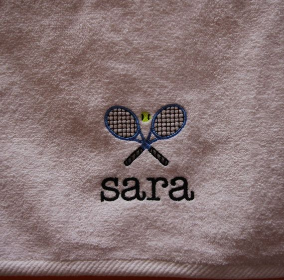 One Personalized Tennis Racquet Sports Towel 16 x 27 by sweetharsh