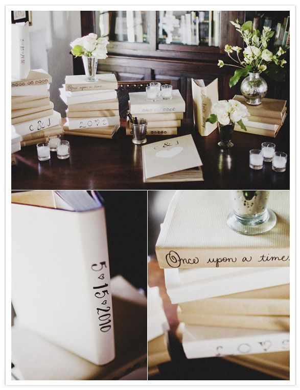 cute idea to wrap and write on the books!
